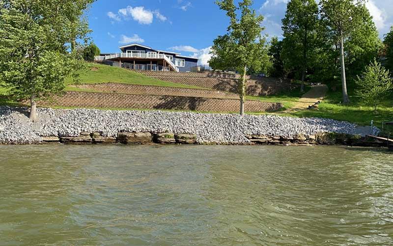 Shoreline with rip rap erosion control with rocks