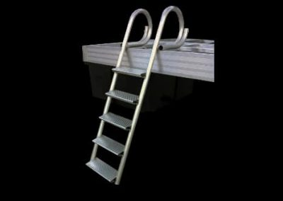 A five step dock ladder mounted to the side of a dock on a black background