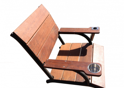 A mockup of a wooden captains chair with a metal cupholder on one arm and a fishing pole holder in the other