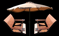 A mock up of a relaxation station with two wooden chairs facing each other and an umbrella in the middle