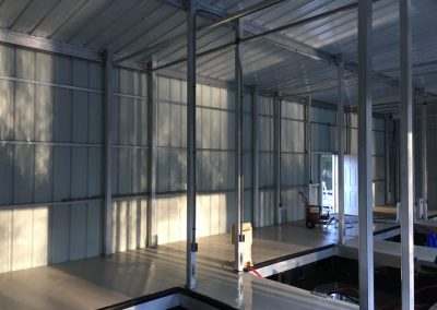 Interior of enclosed commercial Large Multi-Garage Boat Dock